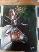 Original Christmas Painting Hanging The Star Reindeer By Kholland 12x16