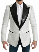 Dolce And Gabbana Blazer Menand039s White Sequined Slim Fit Jacket It56/us46/3xl