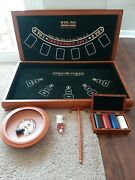 Wooden 5 In 1 Blackjack Poker Roulette Felt Tables Wooden Border And Accessories