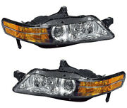 Hid Xenon Headlights Headlamps Pair Set New For 04-05 Acura Tl Built In Canada