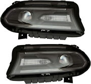 Hid Headlights Headlight Assembly W/bulb New Pair Set For 15-18 Dodge Charger