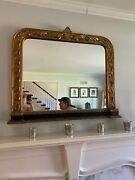 Vintage Traditional French Mantle Or Wall Gold Giltwood Mirror