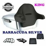 King Tour Pack Pad Barracuda Silver Black Hinges And Latch Fit 97+ Harley Electra