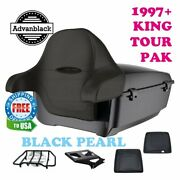 Black Pearl King Tour Pack Trunk Black Hinges And Latch For 97-21 Harley Electra