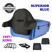 Superior Blue King Tour Pack Trunk Black Hinges And Latch For 97-21 Harley Electra
