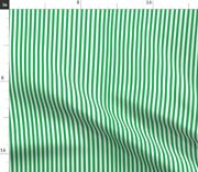 Pinstripe Grass Green White Stripes Thin Vertical Spoonflower Fabric By The Yard
