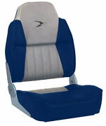 Wise 8wd640pls-660 Lund Style High Back Fishing Seat Fold Down Grey/navy Blue