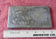 Vintage Silver-plated Hinged Case Scroll Work Bird Floral Checkbook Cigarette