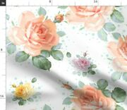 Retro Roses Coral Floral Swag Flowers Green Polka Spoonflower Fabric By The Yard