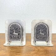 Metzke Unicorn In Captivity Vintage 1980 Pewter Bookends Pair Set Office Decor