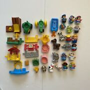Lot 35 Fisher Price Little People Parts Pieces Farm Animals Etc - Preowned