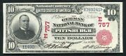 1902 10 Rs German National Bank Pittsburgh Pa National Currency Ch. 757 Unc