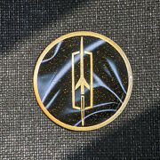 Black/gold Oldsmobile Wire Wheel Chips Emblems Decals Set Of 4 Size 2.75in