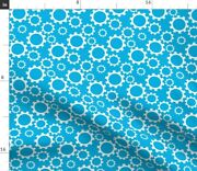 Tractor Gears Blue Abstract Geometric Spoonflower Fabric By The Yard