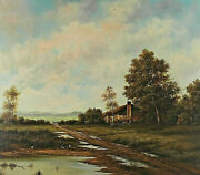 Signed Krauer Or Krouer - Landscape With Farmhouse And Fields