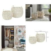 Water Hyacinth Decorative Basket Round Handled Handcrafted Storage Home Use 2pcs