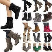 Us Womens Winter Warm Mid-calf Low Heels Snow Wide Flats Casual Boots Shoes Size