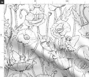 Fairies Garden Poppies Poppy Line Coloring Book Spoonflower Fabric By The Yard