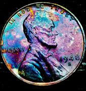1948 S Lincoln Wheat Penny Cent- Beautiful Toning Superb Gem High Grade 02