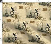 Vintage French Paris Globe Crow Antique Stamp Spoonflower Fabric By The Yard
