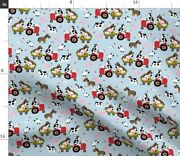 Friends Blue Cows Tractor Pig Farm Chicken Horse Spoonflower Fabric By The Yard