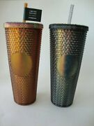 Starbucks Dark Bling Black And Cooper Gold Iridescent Studded Cold Cup Tumbler