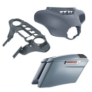 Inner Outer Batwing Fairings + 4and039and039 Saddlebag Fit For Harley Street Glide 14-21