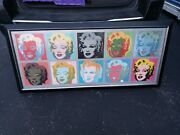 Lithograph Poster 1990's Marilyn Monroe Andy Warhol Ten Marilyns Framed