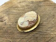 Antique Victorian Gold Filled Shell Cameo With Diamond Pin Broach Pendant