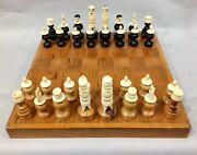 Vintage Mexico Hand Carved Bone Tarascan Spanish Pulpit Chess Set With Board