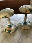 Pair Of Vintage Hat/wig Stands, Quilted Floral Chintz Sturdy Wooden Base