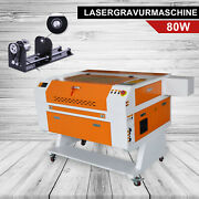 80w Co2 Laser Cutting Engraving Marking Machine Engraver Cutter + Rotary Axis
