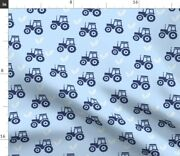 Farm Tractor Country Baby Blue Wheat Farmer Crop Spoonflower Fabric By The Yard