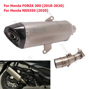 Motorcycle Exhaust Muffler Tip Mid Link Pipe Slip On For Honda Forza 300 Nss350