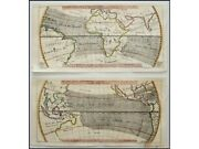 Crosswind Between The Continents Old Sea Charts By Bellin 1753   World Maps Wind