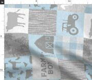 Baby Blue Farm Animals Tractor Baby Blue And Grey Spoonflower Fabric By The Yard