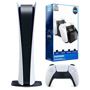 Sony Playstation 5 Digital Version With Dual Charging Dock Station Bundle