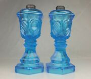 Pair Of Antique Blue Sandwich Glass Heart Pattern Betty Whale Oil Lamps 9.5and039and039