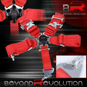3 Single Nylon 5 Point Pt Red Cam Lock Racing Seat Belt Safety Latch Snap On