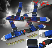 For 2 Pair Nylon 4pt Racing Seat Belt Safety Buckle Secure Quick Snap On Blue