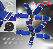 3 Pair Nylon 5 Point Cam Lock Race Harness Seat Belts Safety Latch Snap On Blue