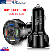 4 Usb Ports Car Charger Adapter Led 2.1a Qc3.0 Fast Charging For Iphone Samsung