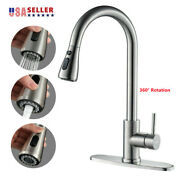 Kitchen Faucet Sink Pull Down Sprayer Swivel Spout Brushed Nickel With Cover Usa