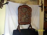 Antique Fire Screen C19th Century French Hand Woven Carved Walnut Stand