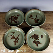 8old Song Dynasty Porcelain Ru Kiln Mark 1set Plum Blossom Orchid Bamboo Plates