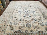 9x12 Vintage Indian Hand-knotted Rug Light Pastel Colors Blue And Ivory Fine Wool