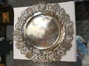 Vintage Hand Hammered 0900 Silver And Metal Hanging Ornate Wall Platter