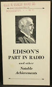 Vintage 1928 Edisonandrsquos Part In Radio And Other Notable Achievements Brochure