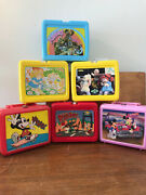 Vintage 6 Lunch Boxes No Thermos. Mickey M Cabbage Patch Muppets Roger R.