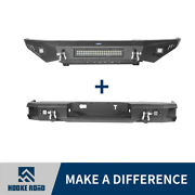 Hooke Road Front Rear Bumpers W/ Led Lights Bar Fit Toyota Tundra Pickup 14-20